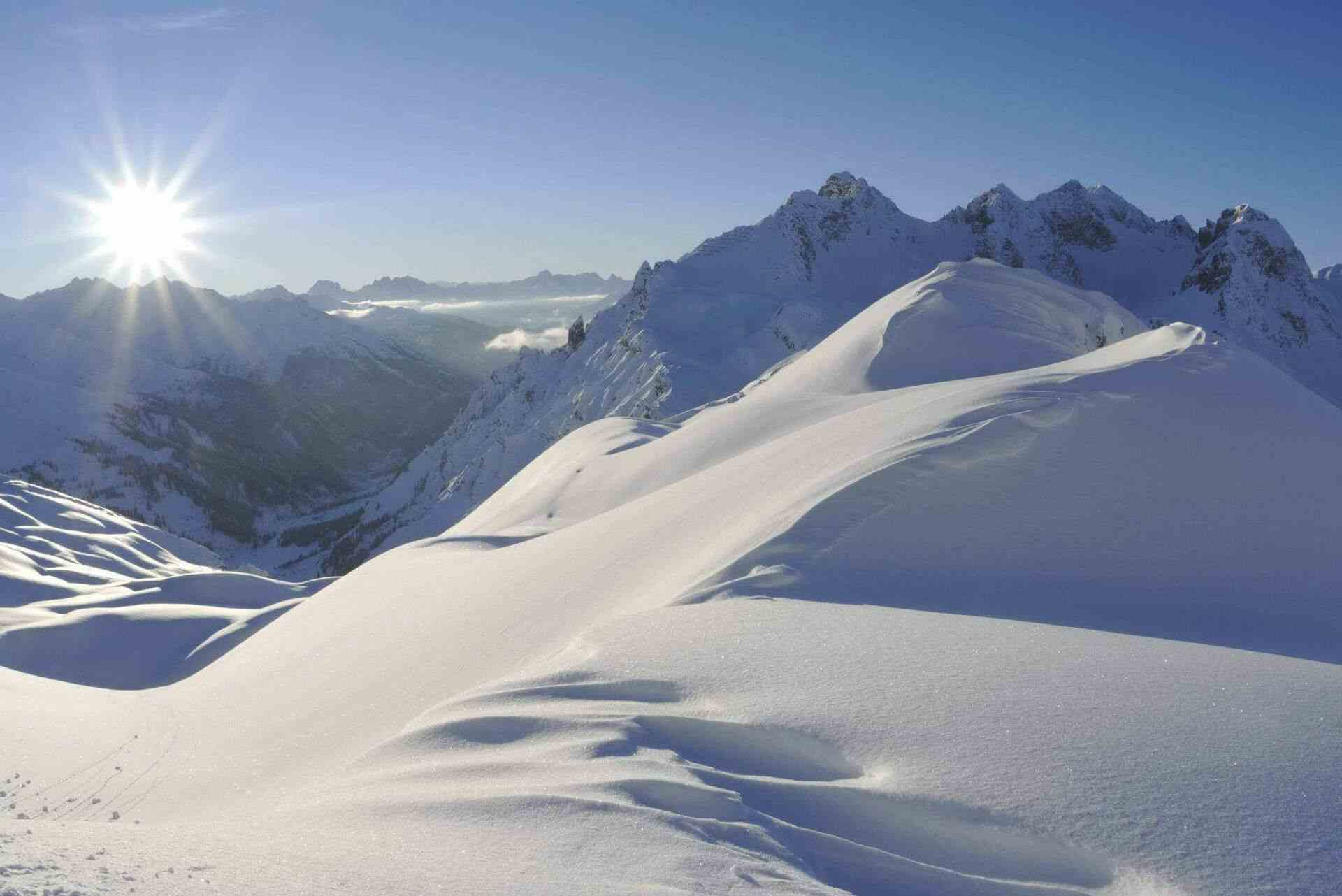sonne berge schnee