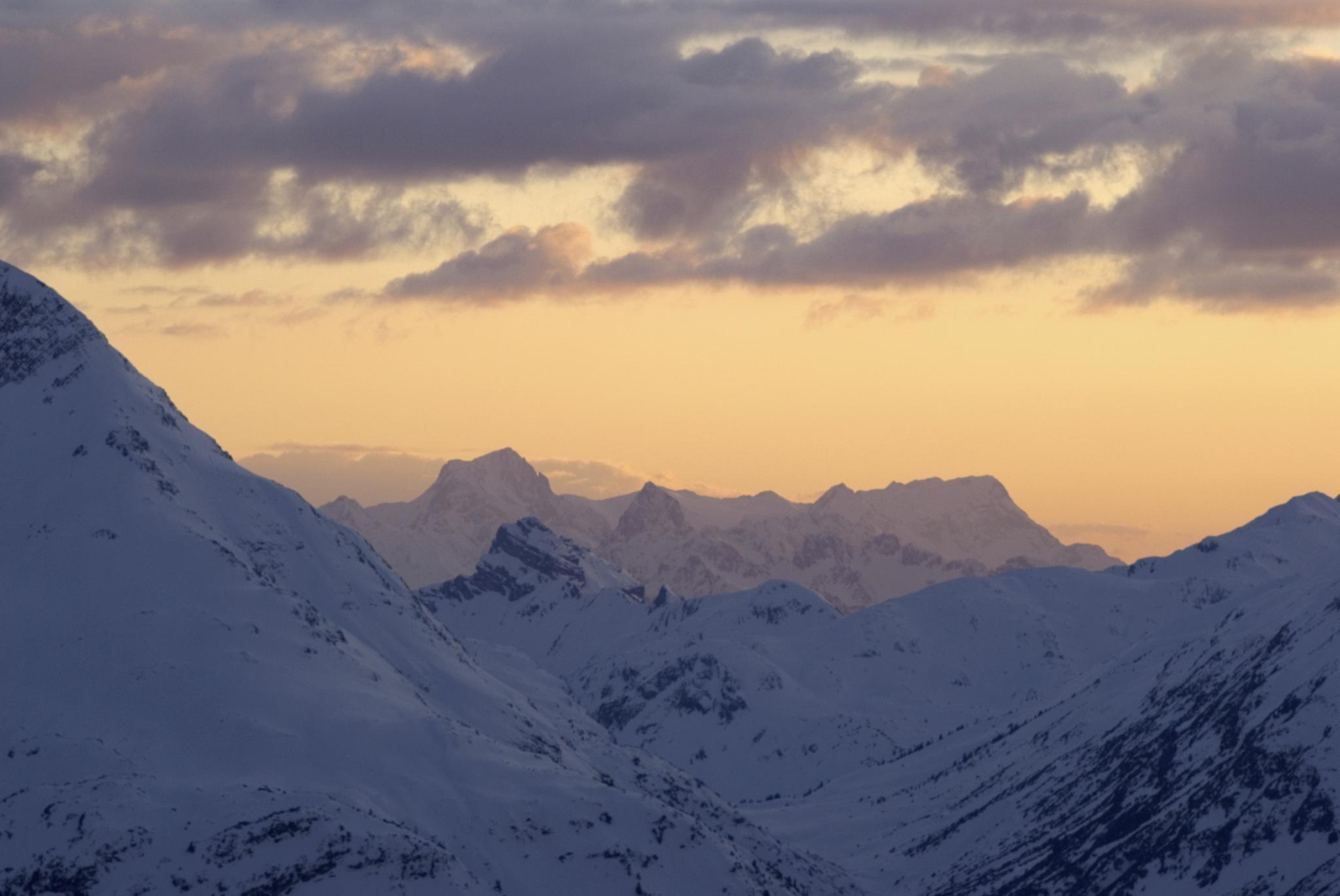 Sonnenuntergan Region Zürs