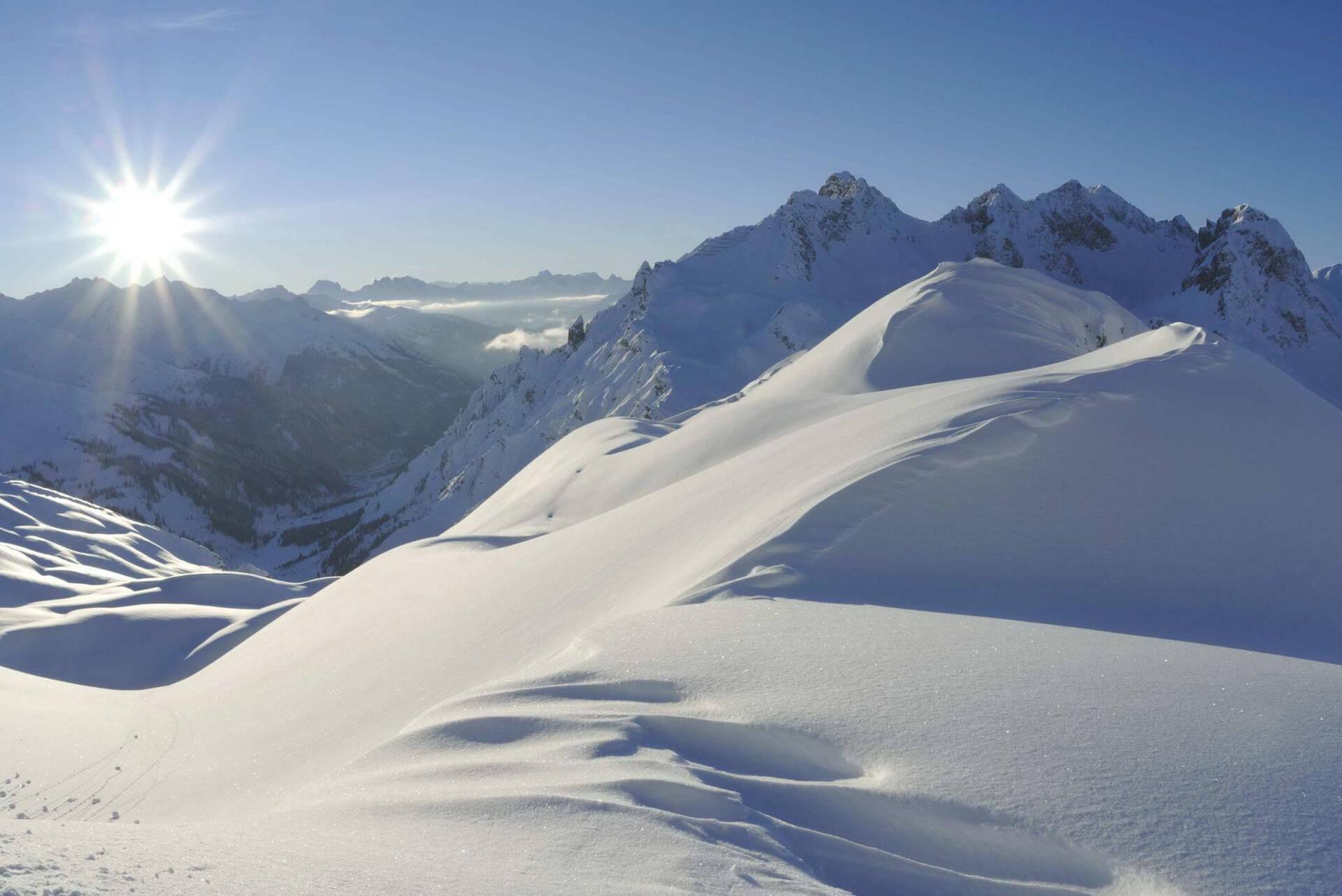 Schnee Sonne Berge
